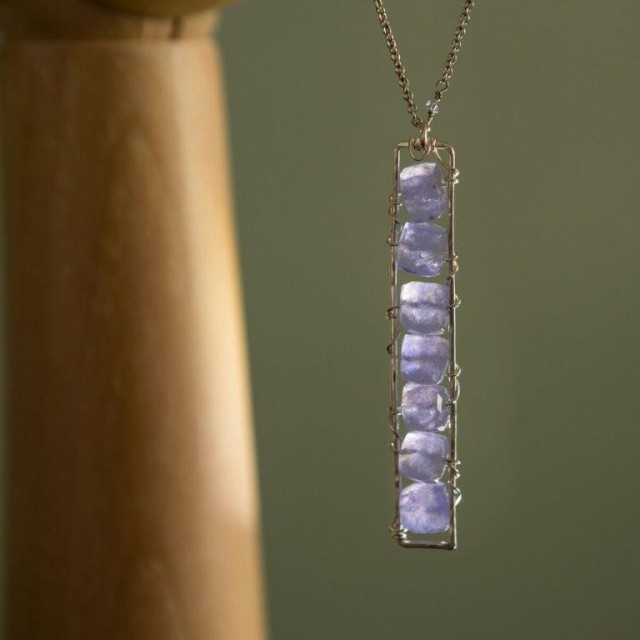 Iolite Cage necklace SS