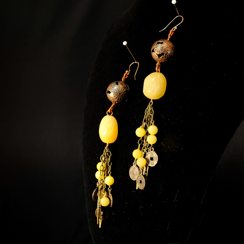 Yellow long earrings b