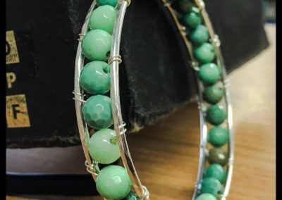 Gigi double sterling silver bracelet with Faceted Amazonite stones